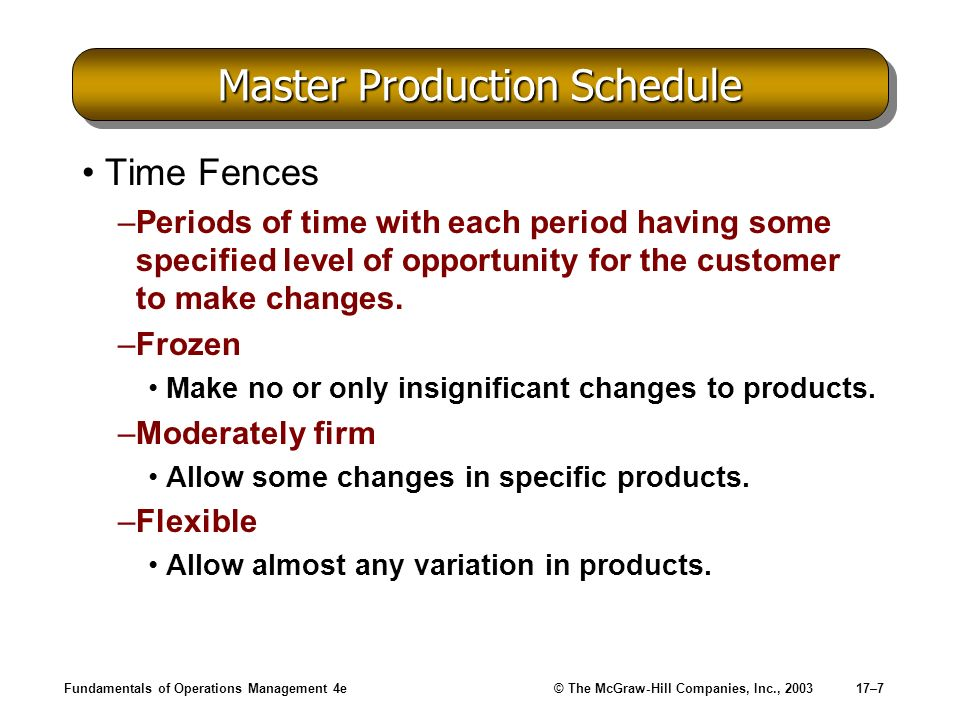 Fundamentals of Operations Management 4e© The McGraw-Hill Companies, Inc., 200317–7 Master Production Schedule Time Fences –Periods of time with each