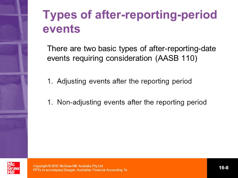 Copyright © 2012 McGraw-Hill Australia Pty Ltd PPTs to accompany Deegan, Australian Financial Accounting 7e 16-8 Types of after-reporting-period event