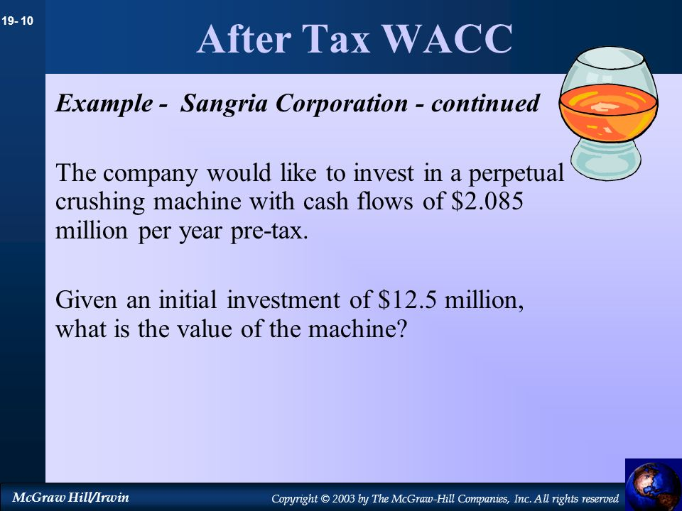 19- 10 McGraw Hill/Irwin Copyright © 2003 by The McGraw-Hill Companies, Inc. All rights reserved After Tax WACC Example - Sangria Corporation - contin
