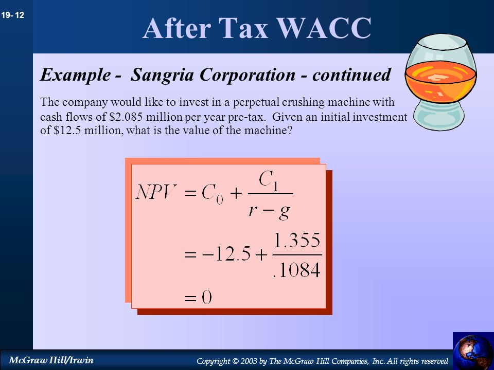 19- 12 McGraw Hill/Irwin Copyright © 2003 by The McGraw-Hill Companies, Inc. All rights reserved After Tax WACC Example - Sangria Corporation - contin