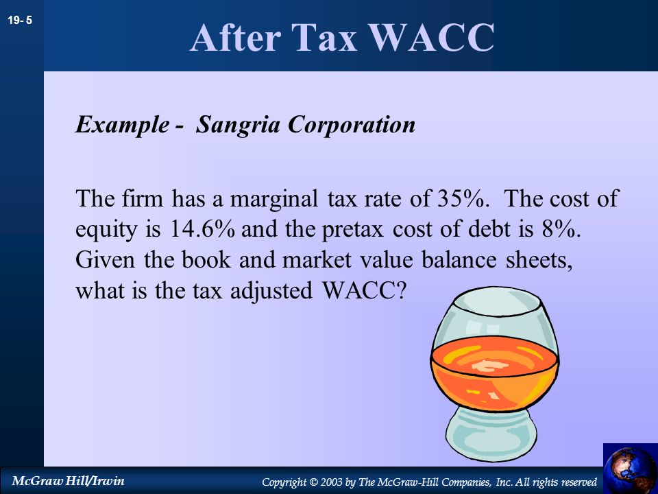 19- 5 McGraw Hill/Irwin Copyright © 2003 by The McGraw-Hill Companies, Inc. All rights reserved After Tax WACC Example - Sangria Corporation The firm