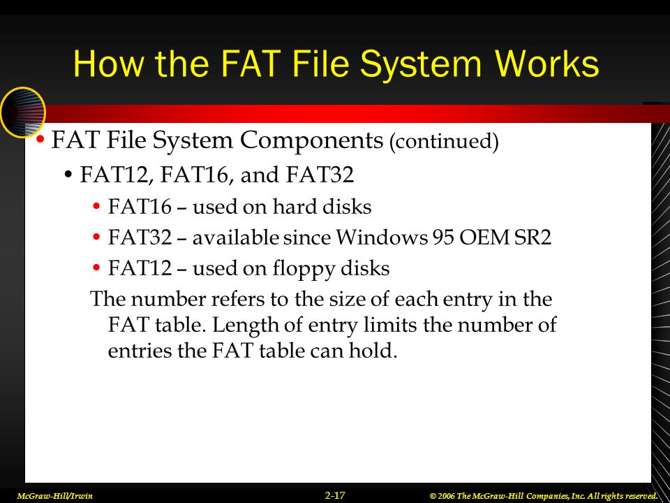McGraw-Hill/Irwin© 2006 The McGraw-Hill Companies, Inc. All rights reserved. 2-17 How the FAT File System Works FAT File System Components (continued)