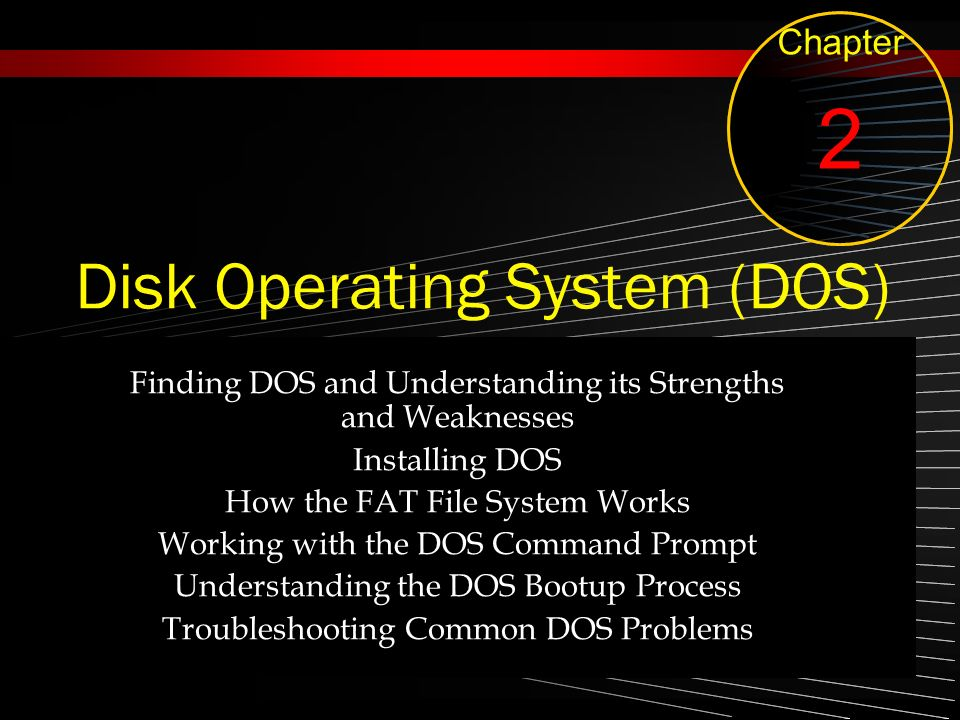 Disk Operating System (DOS) Finding DOS and Understanding its Strengths and Weaknesses Installing DOS How the FAT File System Works Working with the D