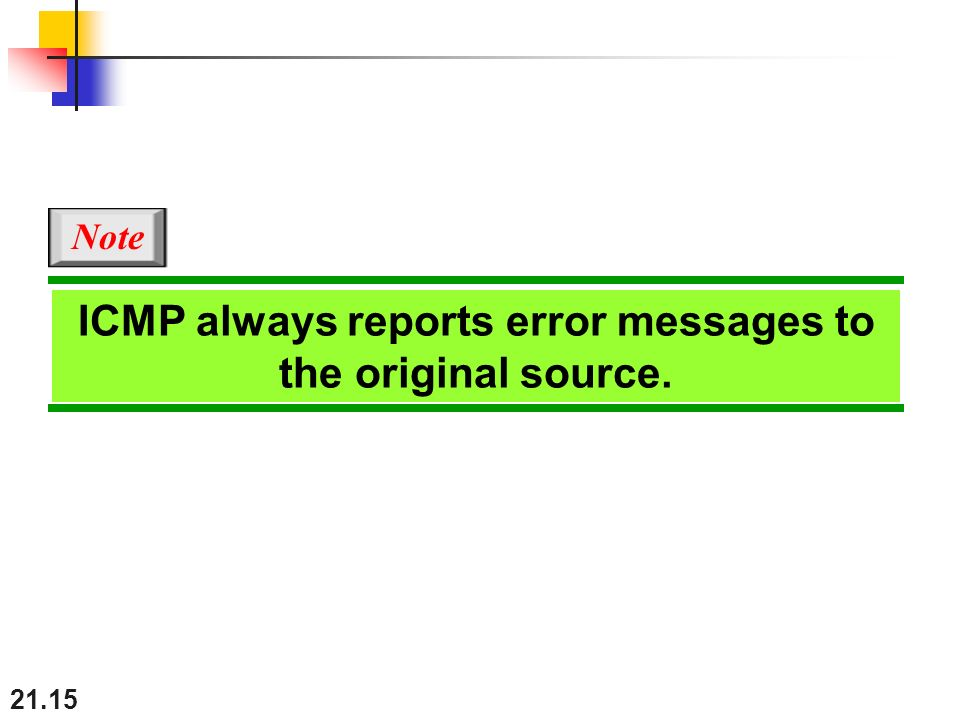 21.15 ICMP always reports error messages to the original source. Note