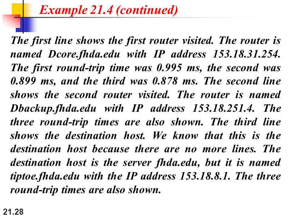 21.28 The first line shows the first router visited.