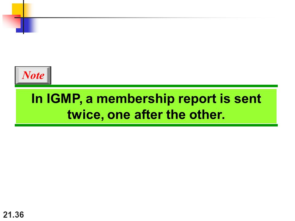 21.36 In IGMP, a membership report is sent twice, one after the other. Note