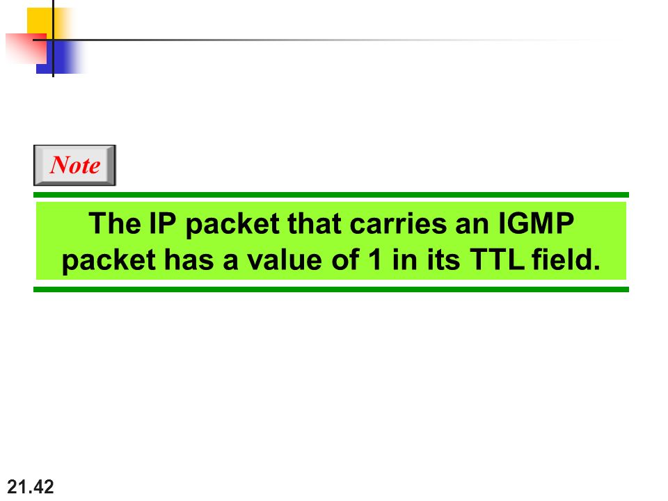 21.42 The IP packet that carries an IGMP packet has a value of 1 in its TTL field. Note