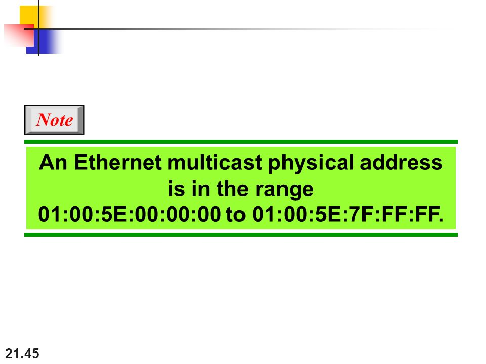 21.45 An Ethernet multicast physical address is in the range 01:00:5E:00:00:00 to 01:00:5E:7F:FF:FF.