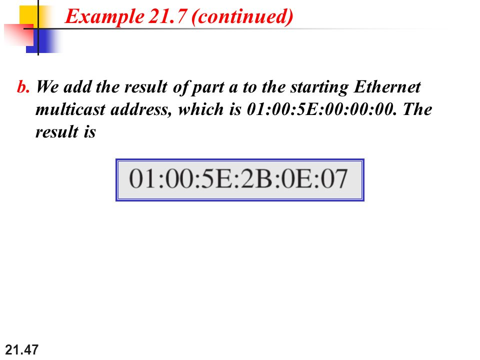 21.47 b. We add the result of part a to the starting Ethernet multicast address, which is 01:00:5E:00:00:00. The result is Example 21.7 (continued)