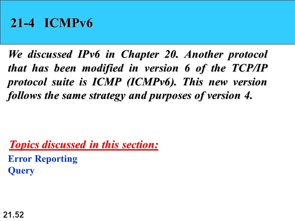 21.52 21-4 ICMPv6 We discussed IPv6 in Chapter 20.