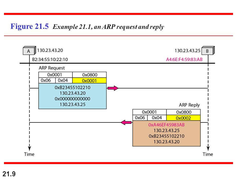 21.9 Figure 21.5 Example 21.1, an ARP request and reply