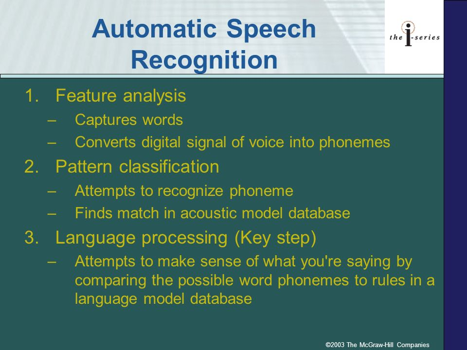 ©2003 The McGraw-Hill Companies Automatic Speech Recognition 1.Feature analysis –Captures words –Converts digital signal of voice into phonemes 2.Patt