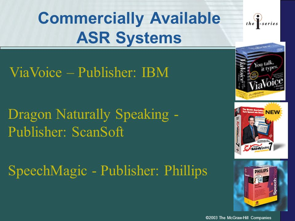 ©2003 The McGraw-Hill Companies Commercially Available ASR Systems ViaVoice – Publisher: IBM Dragon Naturally Speaking - Publisher: ScanSoft SpeechMag