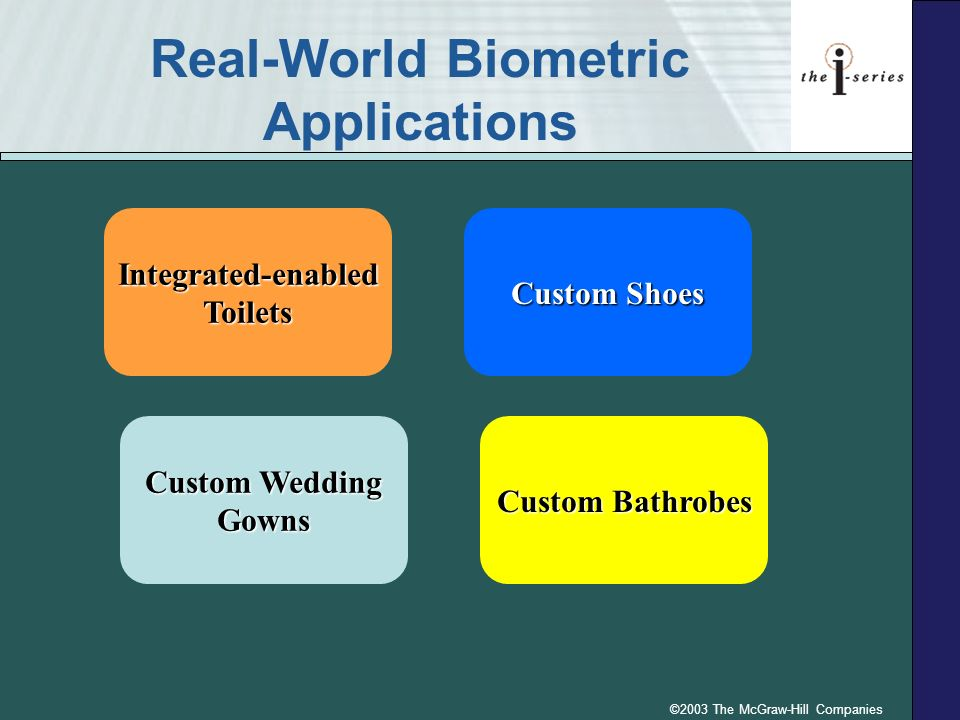 ©2003 The McGraw-Hill Companies Real-World Biometric Applications Integrated-enabledToilets Custom Wedding Gowns Custom Bathrobes Custom Shoes