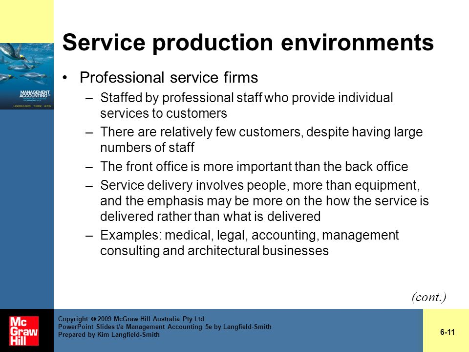 Service production environments Professional service firms –Staffed by professional staff who provide individual services to customers –There are rela