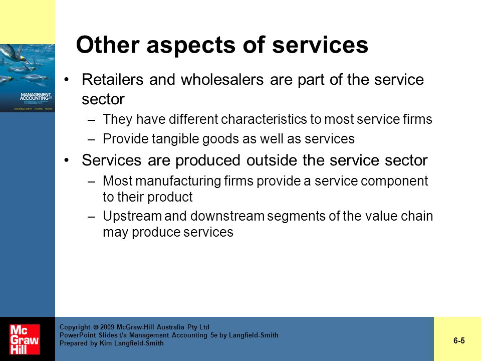 Other aspects of services Retailers and wholesalers are part of the service sector –They have different characteristics to most service firms –Provide