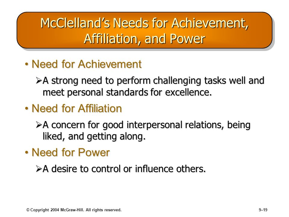 © Copyright 2004 McGraw-Hill. All rights reserved.9–19 McClellands Needs for Achievement, Affiliation, and Power Need for AchievementNeed for Achievem