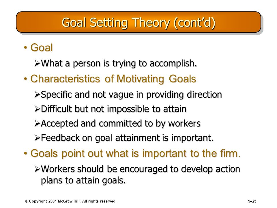 © Copyright 2004 McGraw-Hill. All rights reserved.9–25 Goal Setting Theory (contd) GoalGoal What a person is trying to accomplish. What a person is tr