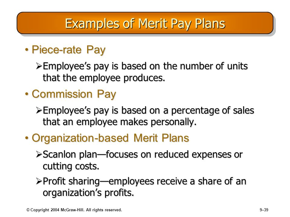 © Copyright 2004 McGraw-Hill. All rights reserved.9–39 Examples of Merit Pay Plans Piece-rate PayPiece-rate Pay Employees pay is based on the number o