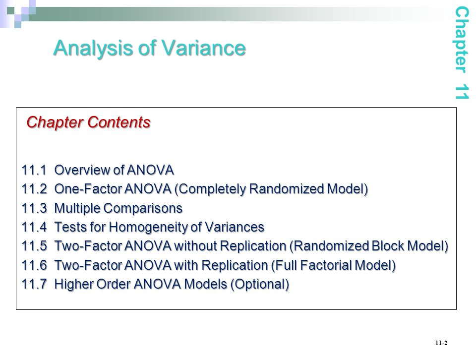 11-2 Analysis of Variance Chapter Contents 11.1 Overview of ANOVA 11.2 One-Factor ANOVA (Completely Randomized Model) 11.3 Multiple Comparisons 11.4 T