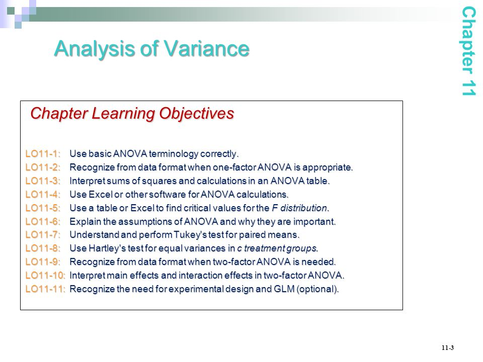 11-3 Chapter Learning Objectives LO11-1: Use basic ANOVA terminology correctly. LO11-2: Recognize from data format when one-factor ANOVA is appropriat