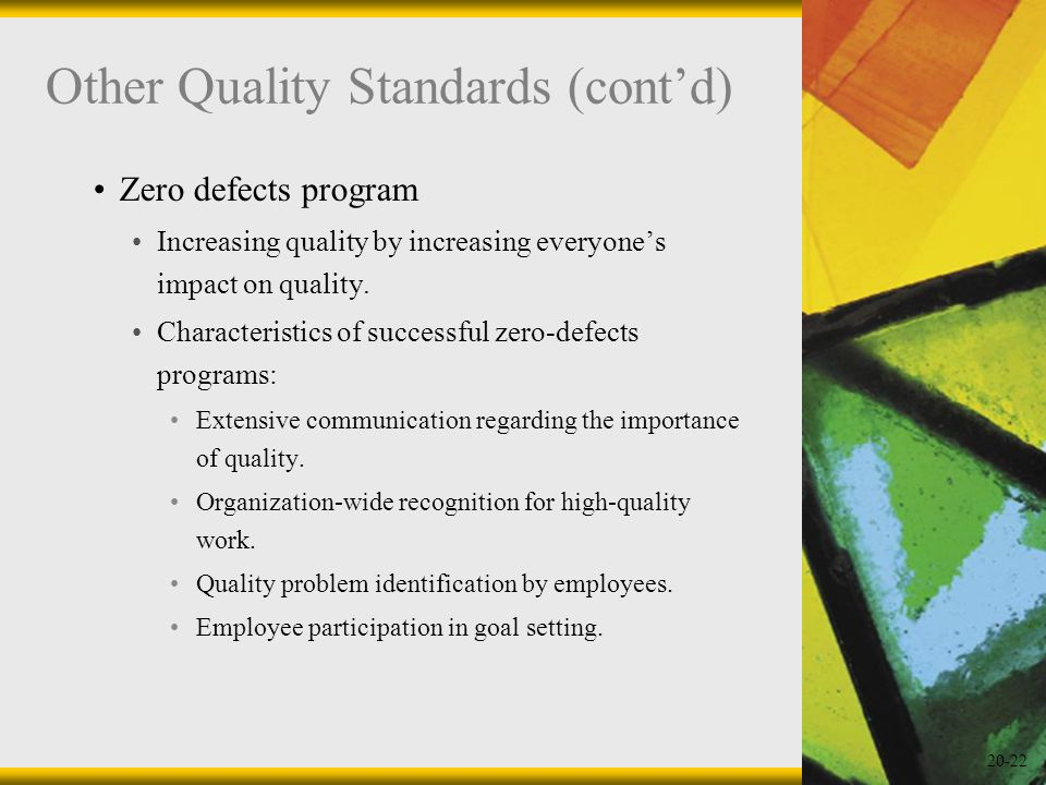 20-22 Other Quality Standards (contd) Zero defects program Increasing quality by increasing everyones impact on quality. Characteristics of successful