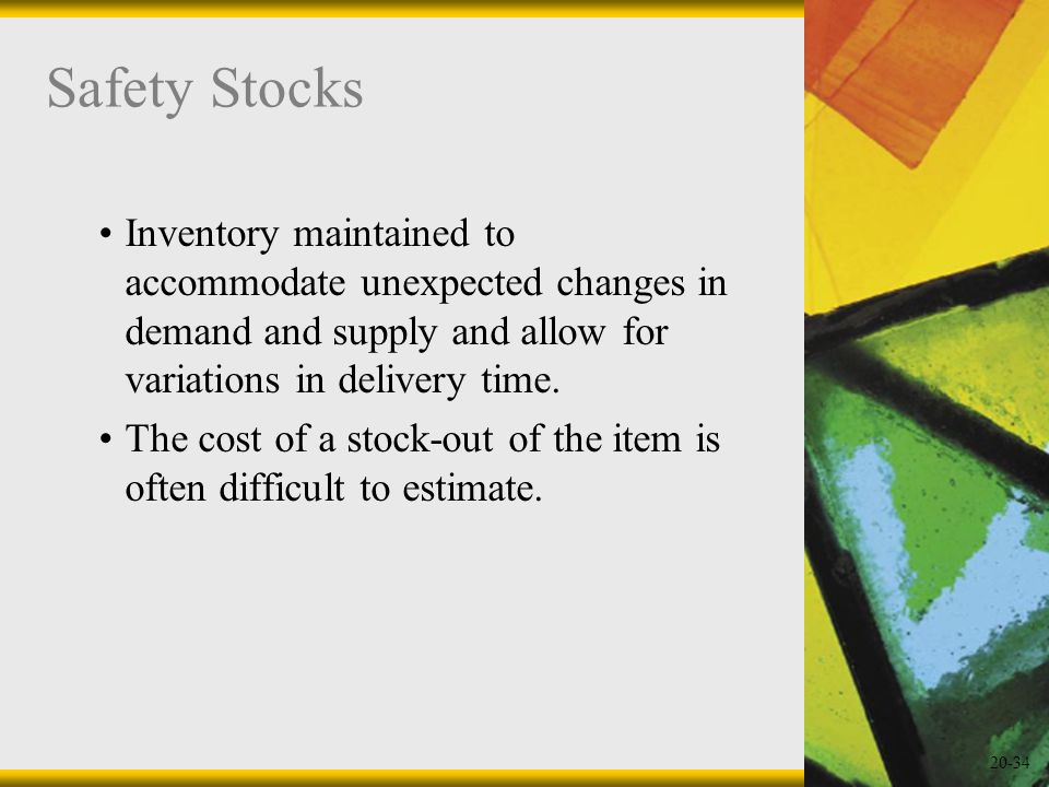 20-34 Safety Stocks Inventory maintained to accommodate unexpected changes in demand and supply and allow for variations in delivery time. The cost of