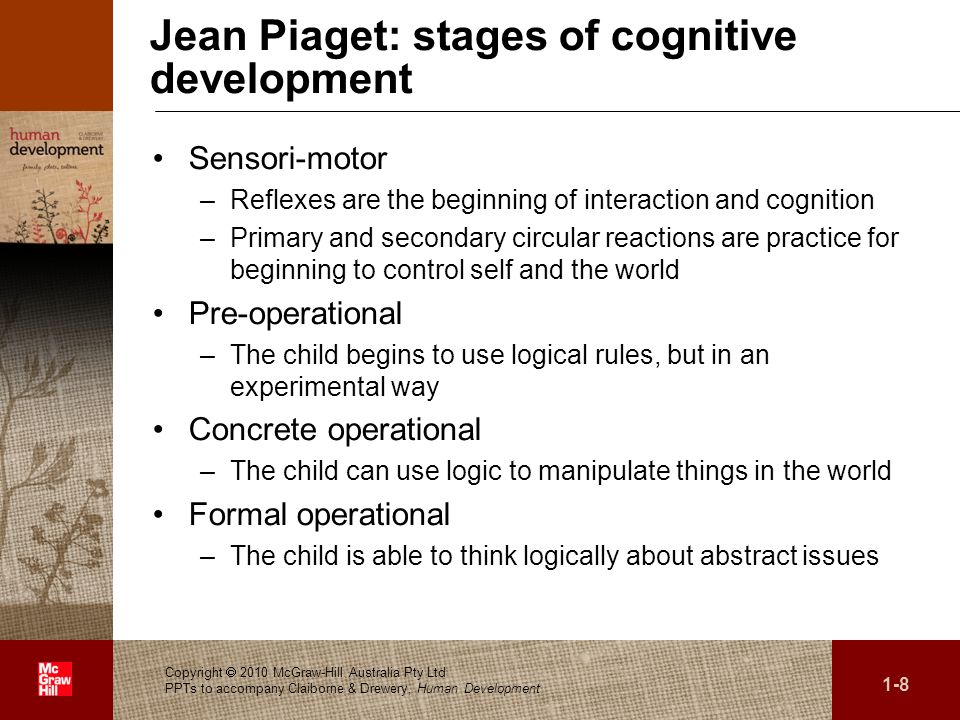 . Jean Piaget: stages of cognitive development Sensori-motor –Reflexes are the beginning of interaction and cognition –Primary and secondary circular