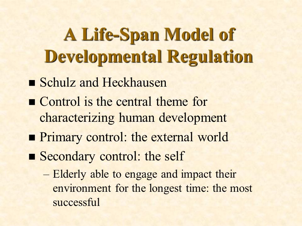 A Life-Span Model of Developmental Regulation n Schulz and Heckhausen n Control is the central theme for characterizing human development n Primary co