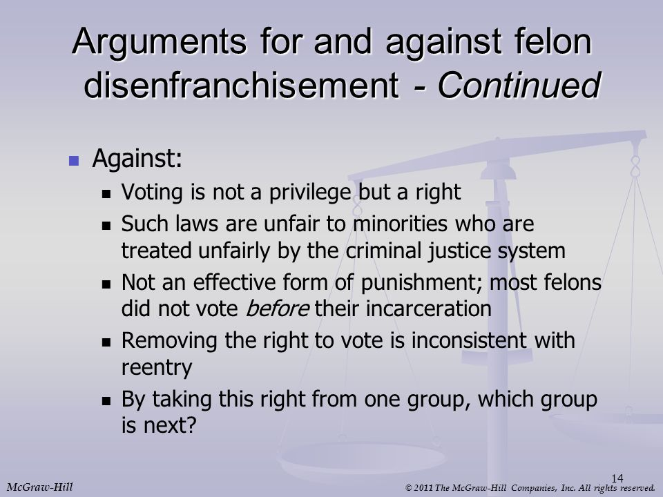 © 2011 The McGraw-Hill Companies, Inc. All rights reserved. McGraw-Hill Arguments for and against felon disenfranchisement - Continued Against: Voting
