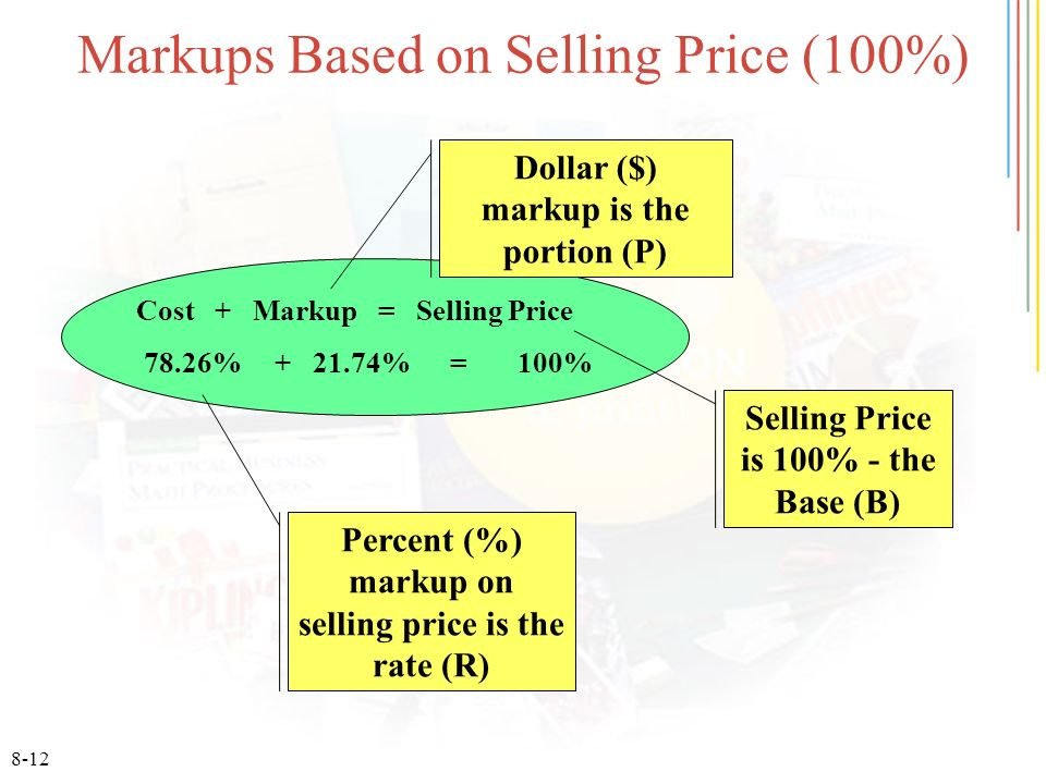 8-12 Markups Based on Selling Price (100%) Cost + Markup = Selling Price 78.26% + 21.74% = 100% Selling Price is 100% - the Base (B) Dollar ($) markup is the portion (P) Percent (%) markup on selling price is the rate (R)
