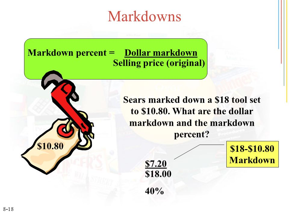 8-18 Markdowns Sears marked down a $18 tool set to $10.80.