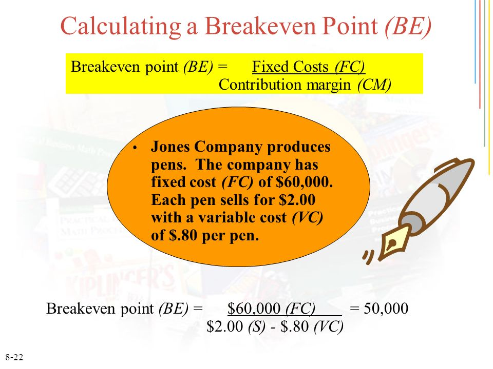 8-22 Calculating a Breakeven Point (BE) Jones Company produces pens.