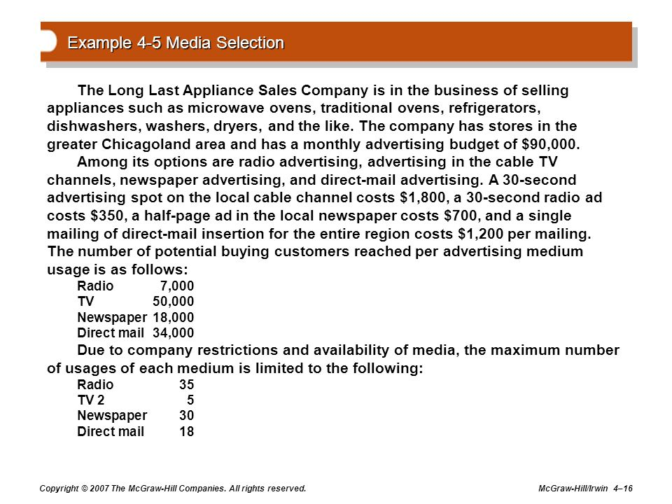 Copyright © 2007 The McGraw-Hill Companies. All rights reserved. McGraw-Hill/Irwin 4–16 Example 4-5 Media Selection The Long Last Appliance Sales Comp