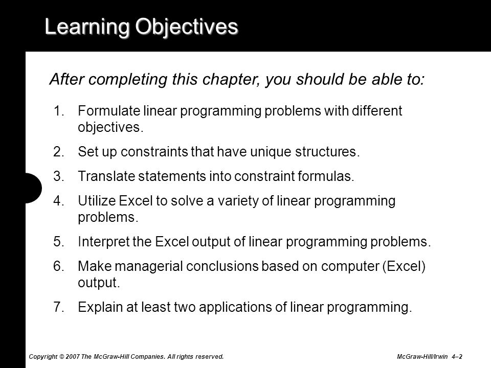 Copyright © 2007 The McGraw-Hill Companies. All rights reserved. McGraw-Hill/Irwin 4–2 Learning Objectives 1.Formulate linear programming problems wit