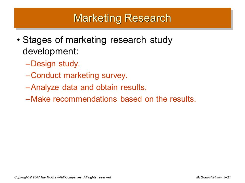 Copyright © 2007 The McGraw-Hill Companies. All rights reserved. McGraw-Hill/Irwin 4–21 Marketing Research Stages of marketing research study developm