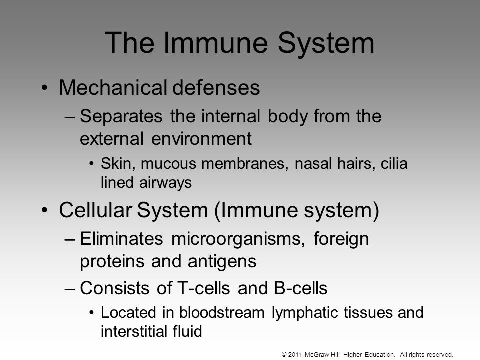 © 2011 McGraw-Hill Higher Education. All rights reserved. The Immune System Mechanical defenses –Separates the internal body from the external environ