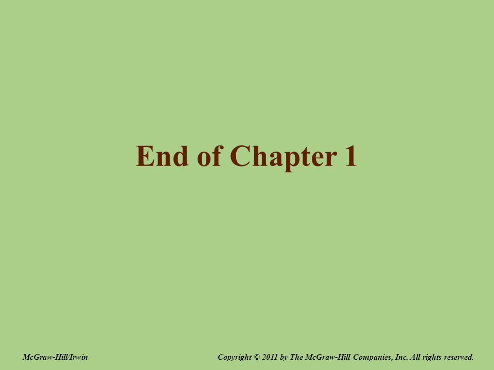 End of Chapter 1 Copyright © 2011 by The McGraw-Hill Companies, Inc. All rights reserved.McGraw-Hill/Irwin