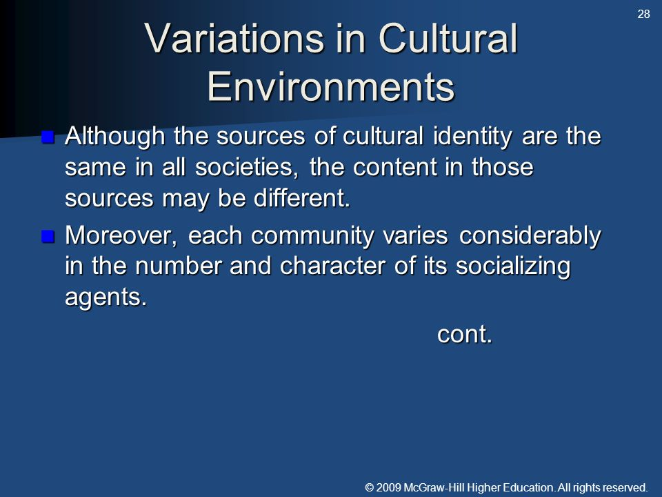 © 2009 McGraw-Hill Higher Education. All rights reserved. Variations in Cultural Environments Although the sources of cultural identity are the same i