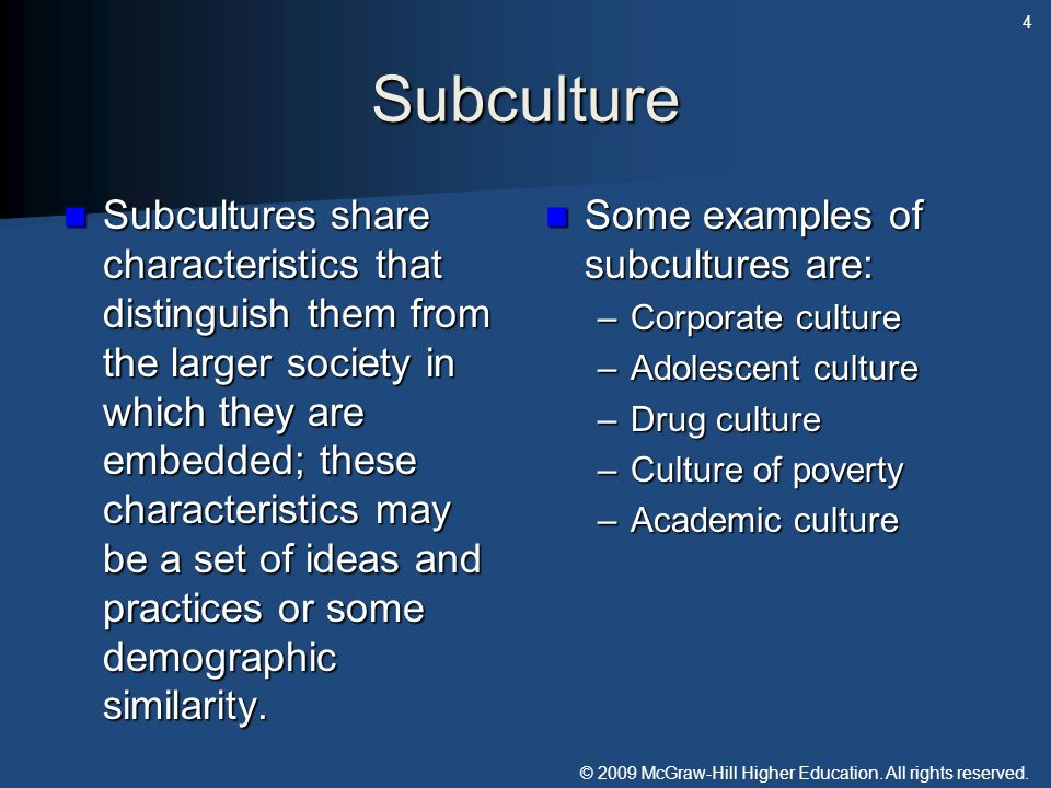 © 2009 McGraw-Hill Higher Education. All rights reserved. Subculture Subcultures share characteristics that distinguish them from the larger society i