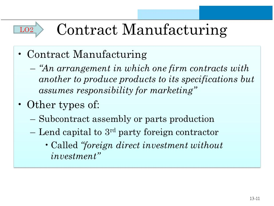 Contract Manufacturing – An arrangement in which one firm contracts with another to produce products to its specifications but assumes responsibility