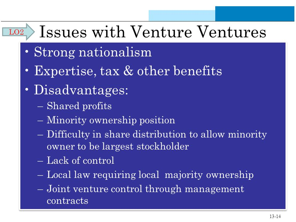 Issues with Venture Ventures Strong nationalism Expertise, tax & other benefits Disadvantages: –Shared profits –Minority ownership position –Difficult