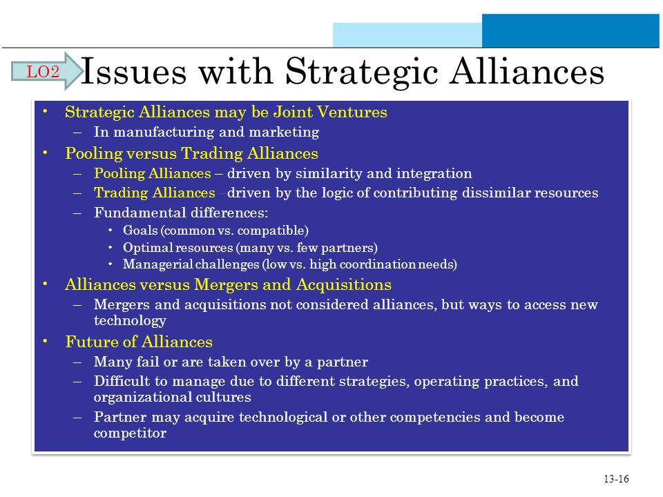 Issues with Strategic Alliances Strategic Alliances may be Joint Ventures –In manufacturing and marketing Pooling versus Trading Alliances –Pooling Al