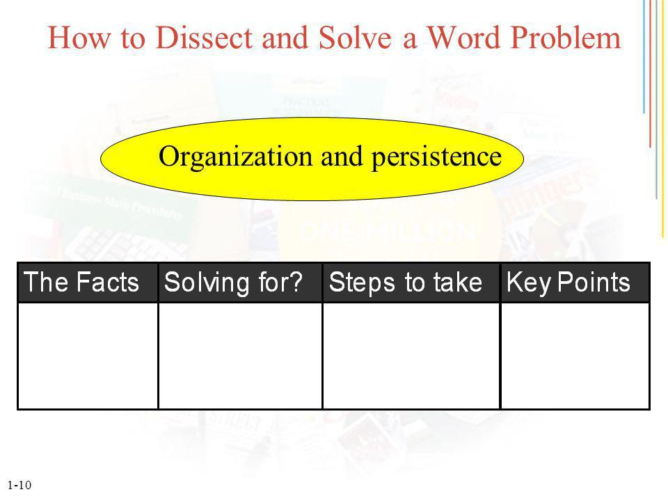 1-10 How to Dissect and Solve a Word Problem Organization and persistence