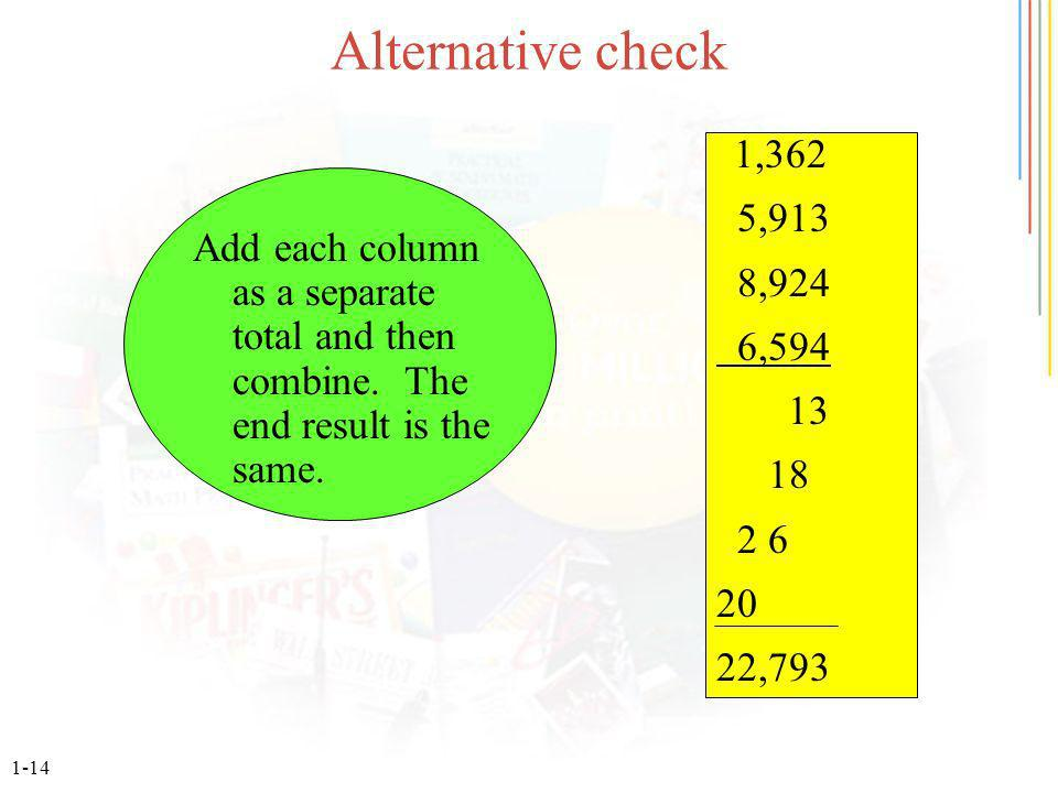 1-14 Alternative check Add each column as a separate total and then combine.