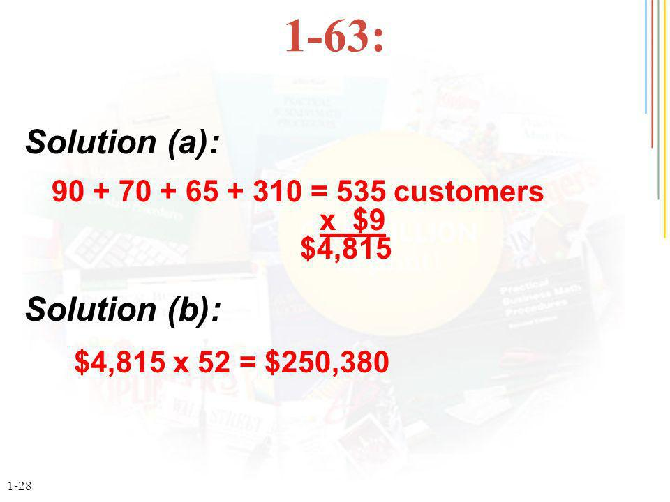 : = 535 customers x $9 $4,815 Solution (a): Solution (b): $4,815 x 52 = $250,380