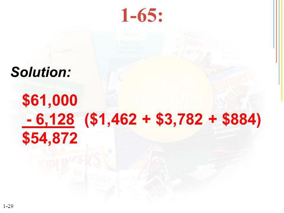 1-29 1-65: $61,000 - 6,128 ($1,462 + $3,782 + $884) $54,872 Solution: