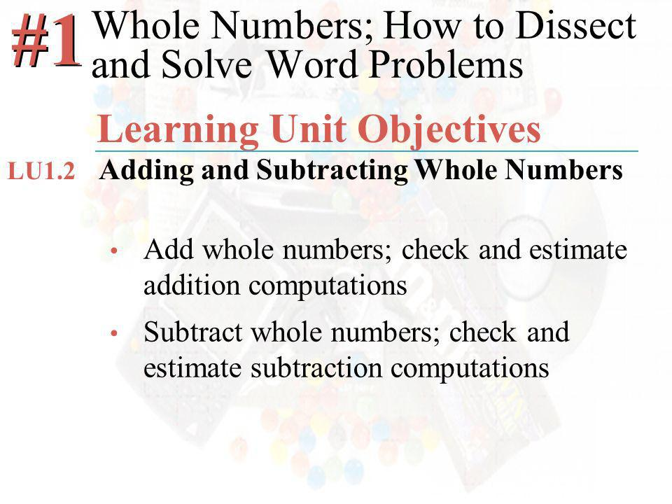 McGraw-Hill/Irwin ©2008 The McGraw-Hill Companies, All Rights Reserved Add whole numbers; check and estimate addition computations Subtract whole numbers; check and estimate subtraction computations Whole Numbers; How to Dissect and Solve Word Problems #1 Learning Unit Objectives Adding and Subtracting Whole Numbers LU1.2