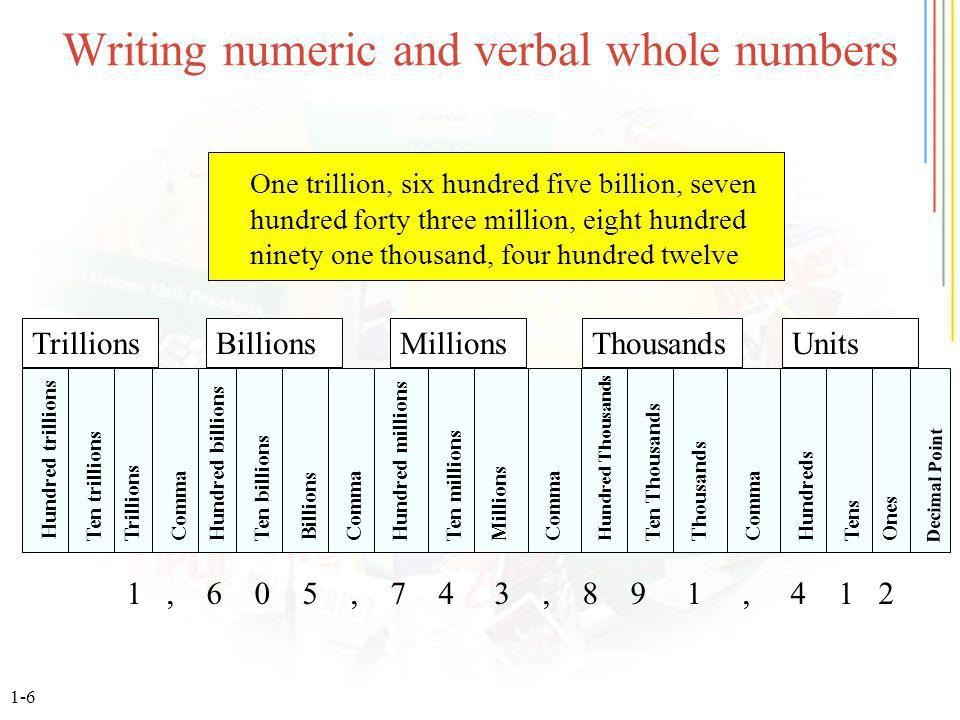 1-7 Converting parts to a regular whole number 2,4 Convert 2.4 billion to a regular whole number Step 2.