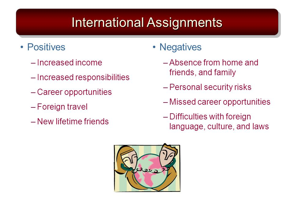 International Assignments Positives –Increased income –Increased responsibilities –Career opportunities –Foreign travel –New lifetime friends Negatives –Absence from home and friends, and family –Personal security risks –Missed career opportunities –Difficulties with foreign language, culture, and laws